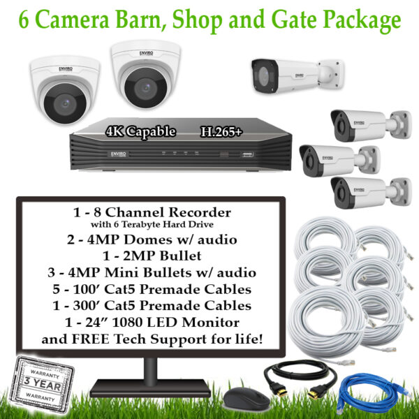 6CamFarmBarnShopGate 1 600x600 - 6 Camera Barn, Shop & Gate Package